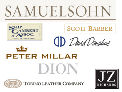 Daniel Taylor Clothier - Lines Carred are Samuelsohn, David Donahue, Peter Millar, Scott Barber, JZ Richards, Dion, and  Torino Leather